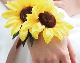 Yellow Sunflower Wrist Corsage