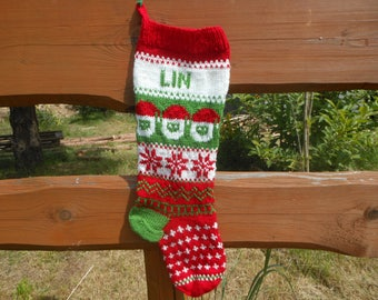 Personalized Christmas Stocking Hand Knitted With Santa Christmas Gift Christmas Decoration