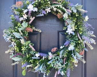 Spring Door Wreaths, Spring Decor, Summer Wreaths, Floral Wreaths, Gift for Her, Housewarming, Boxwood Wreath, Spring Decorating, Gift Ideas