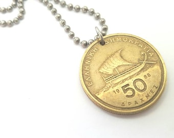1988 Greek Coin Necklace  - Stainless Steel Ball Chain or Key-chain - ship