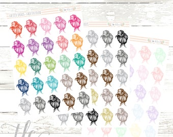 Messy Bun Multi-Color Functional Planner Stickers