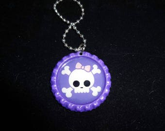 Skull and crossbones pirate purple BOTTLE Cap jewelry Necklace - * free chain