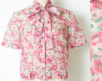 Vintage pink top, Vintage floral top, Pink Floral top, 60s Top, Mad Men top, Sheer pink top, Vintage sheer top, bow tie top, Pink Blouse - S