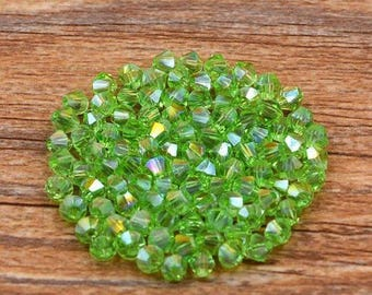 4mm (100) Peridot Green AB Bicone Glass Crystals Peridot Green AB Crystal Beads Loose Beads Faceted Crystals For Jewelry Making