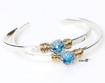 Genuine Swiss Blue Topaz Cuff Bracelet / December Birthstone Jewelry Gift for Her / Gemstone Cuff Bracelet / Mixed Metals Bracelet