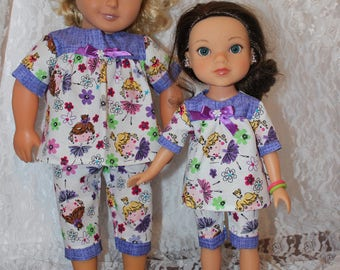 Big Sister Little Sister Matching Outfits, Princes Print Top and Bottoms, handmade to Fit like American Girl and Wellie Wishers Dolls