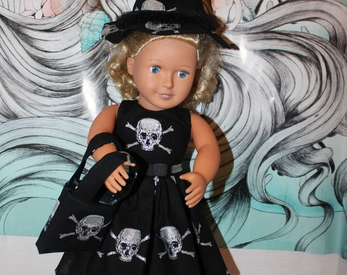 "Halloween Dress Made for the 18"" Dolls like American Girl, Our Generation Skull Print Dress,Hat,Bag and Shoes, FREE SHIPPING"
