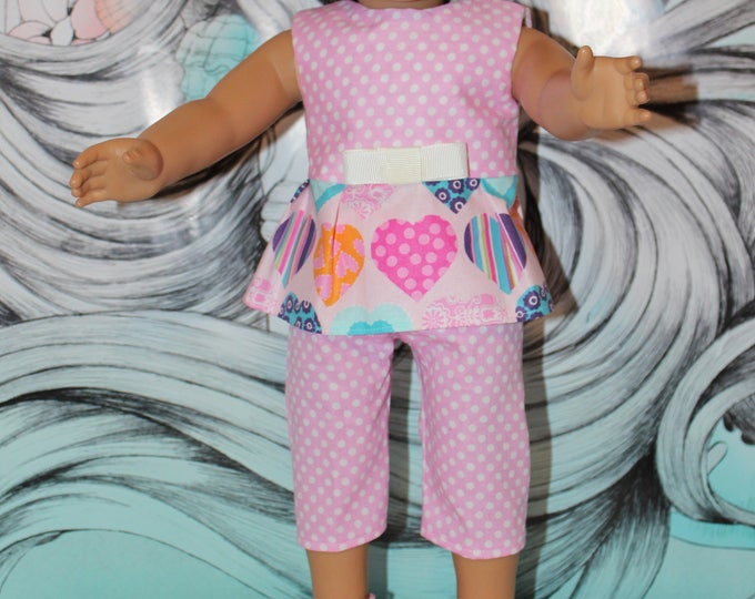 Back To School Pink Hearts Top,Pants,Hat and Sandals. Handmade to fit the American Girl Doll Clothes and Our Generation Doll, FREE SHIPPING