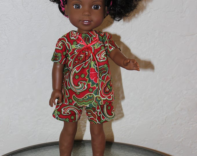 Multi color Christmas Pajamas, Top, Shorts and Shoes Handmade to fit the 14.5 inch dolls like Willie Wisher, and other dolls. FREE SHIPPING