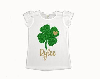 Girl Shamrock Shirt, personalized shamrock shirt, kids shamrock shirt, glitter shamrock shirt, st Patrick day shirt, st patricks outfit