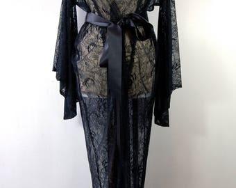 Vintage style black lace kimono, robe, black lingerie, dressing gown