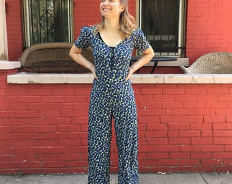 80's Betsey Johnson Floral Jumpsuit, XS-S