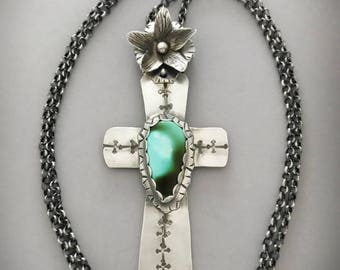 Large Silver Cross Necklace With Genuine Turquoise, Believe in Miracles, Personalized Jewelry, Sterling Flower, Modern Southwestern Style.