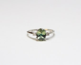 14k White Gold Green Sapphire and Diamond Solitaire Ring