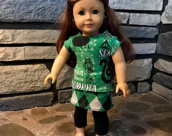 Green Spells Doll outfit for 18' Doll - Tee Shirt - Mini Skirt - Capris