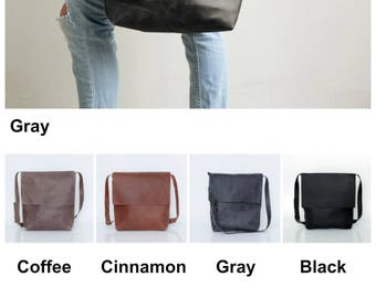 Leather Satchel Women, Gray Leather Messenger Bag, Laptop Bag, Leather Cross Body Bag, Laptop Messenger Bag, Personalized Gift For Her
