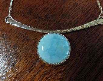 Rare Dominican Republic Larimar Sterling Silver Necklace