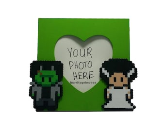 Picture Frame - Frankenstein and Bride of Frankenstein Couples Picture Frame - Horror Wedding - Horror Valentine's Day Gift