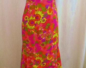 "Vintage 60s Mod Hawaiian Flower Power Dayglo Pink Fishtail Dress S XS 36"" Bust"