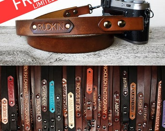 Leather Camera Strap with Personalized Name, Leather dslr, slr Custom Name, Photographer Gift, Brown Camera Strap, Photography Lover
