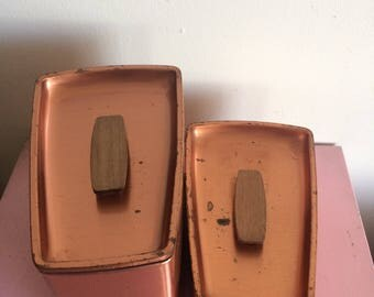 Set of 2 Vintage Lincoln Beautyware Copper Containers with Wooden Handles