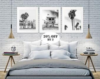 Lifeguard Tower Palm Trees Venice Beach Wall Decor Set of 3 black and white photography, California decor/Beach House Decor/Coastal wall art