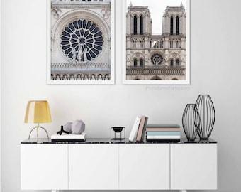 Notre Dame Paris photography New home decor/set of 2 prints/Girlfriend gift for her/Paris Print/Paris Decor/Travel Photography/Paris bedroom