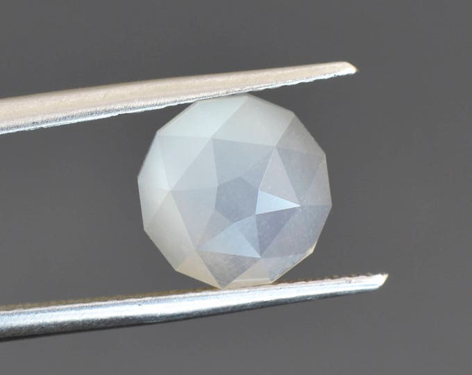 UPRISING SALE! Specialty Custom Faceted Rose Cut Moonstone Gem with White Flash 2.52 cts.