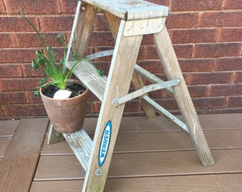 Step Stool, Kitchen Stool Shabby Chic, Wood Stool,  Wood Ladder, Step Ladder, Vintage Ladder