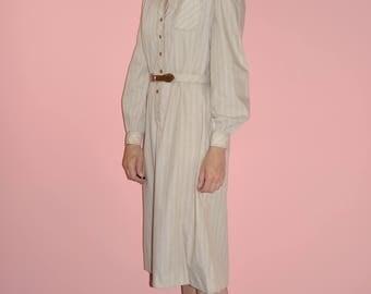 Vintage 70s 80s Beige Minimalist Striped Midi Shirt Dress Matching Belt