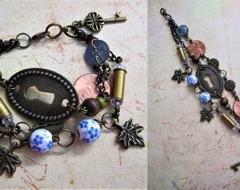 Recycled & Repurposed Multi-Strand Beaded Keyhole Charm Bracelet