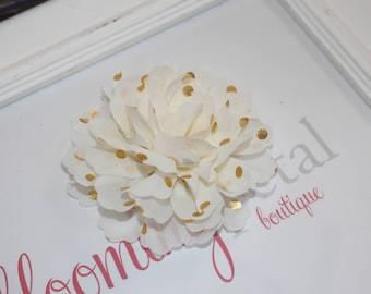 Ivory and Gold Metallic Chiffon Flower