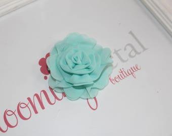 Aqua Chiffon Rose Flower Clip
