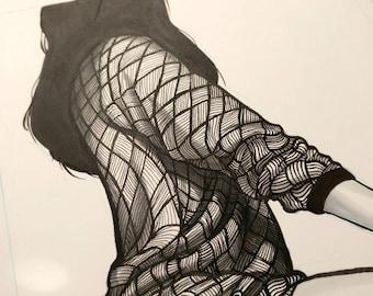 Original INKtober Fashion Piece - Original Art, Original Ink, Original Artwork, Fashion Art