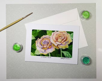 Blush Pink Floral Greeting Card, Watercolor Art Cards With Envelopes, Watercolor Birthday Card, Card For Mom, Card for Grandma, Handmade 5x7