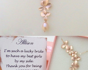 Statement wedding necklace for bridesmaid proposal gift - rose gold and pearl necklace for bride to be gifts from maid of honor gift