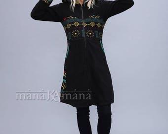 Tribal Fleece Hoodie - Psy Long Jacket - Tribal - Boho hoodie - Elf - Gothic - Hood - Women