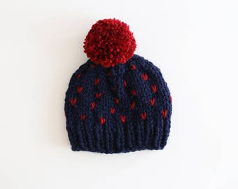 Toddler Pom Pom Beanie, Pom Pom Hat, Baby Hat, Navy Blue and Red baby Hat, Pompom hat, Fair Isle Knit Hat, Little Hearts Hat, Ready to Ship