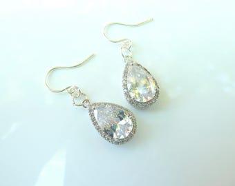 Cubic Zirconia Teardrop Earrings- Silver CZ Teardrop Earrings- Cubic Zirconia Teardrop Bridal Earrings- Silver Rhinestone Teardrop- 642