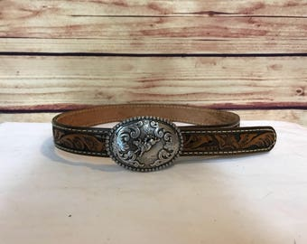 Youth vintage western hand tooled leather belt