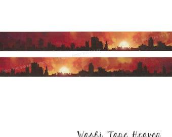 "NEW ""City at Dawn"" Washi Tape - 20mm x 10m - Sunrise Skyline Morning Daybreak Fantasy Landscape Story Tape"