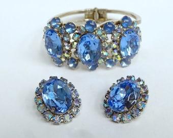 Blue Rhinestone Clamper Bracelet and Earrings - Juliana Style – As Is – Vintage Jewelry - Rhinestone Clamper Bracelet
