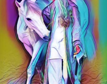 Lady and horse colour variant