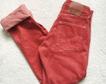 Vintage Levi's 501 Red Pink Levi Strauss High Waisted Reworked Distressed Jeans Waist Size 26