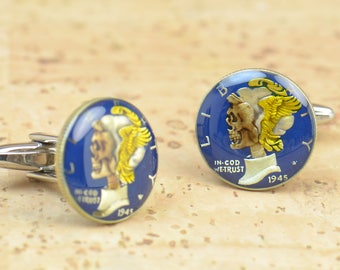 Cufflinks Hobo skull Mercury dime coin United States