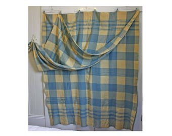 Double Length XL Wool Plaid Camp Blanket - Light Blue and Cream - huge