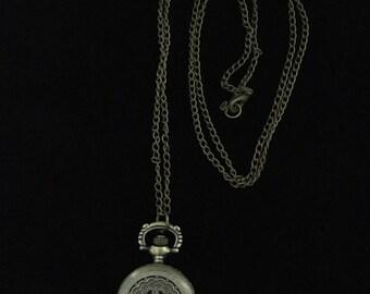 Vintage Woman's Petal & Leaf Bronze Mini Pocket Watch (JT5)