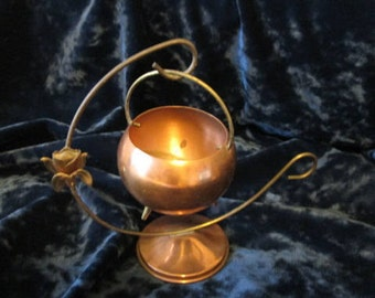 Vintage Brass and Copper Cauldron WIth Stand