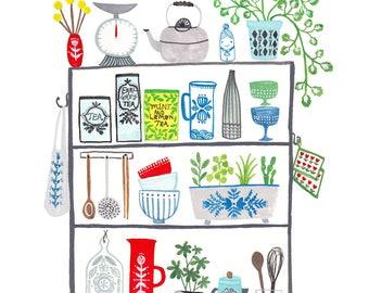 """Kitchen Shelves 8 x 10"""" giclee print"""
