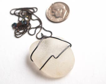 """Soft and Rounded White Sea Glass Wrapped with 20 Gauge Antiqued Sterling Silver on a 1mm Antiqued Sterling Diamond Cut Bead Chain 16""""-24"""""""